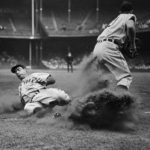 Joe DiMaggio Being Tagged Out at Base
