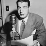 Joe DiMaggio Speaking at Microphone